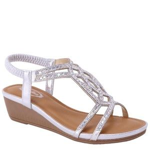 Italina Silver Crystal Stretch Low Wedge Sandal